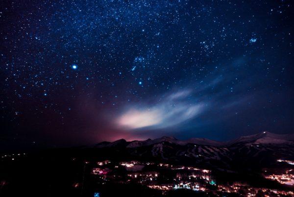 Picture of aurora borealis on a dark blue skies